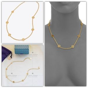 Tory Burch Miller Delicate Logo Necklace Gold